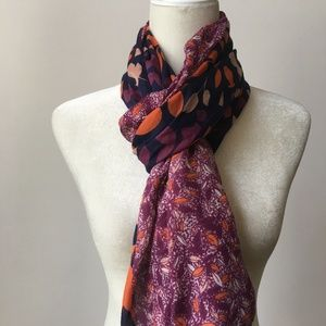 Two Tone Lightweight Scarf Boho Print